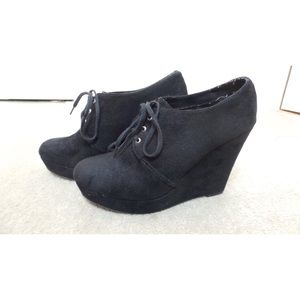 Laced Wedge Booties